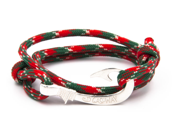 braccialetto gaspway amo da pesca alcantara red green camo amo argento