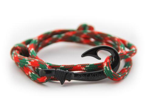 braccialetto amo da pesca red green camo amo nero