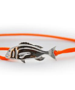 braccialetto dentice argento arancione