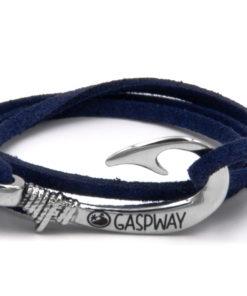 braccialetto gaspway amo da pesca alcantara blu amo acciaio