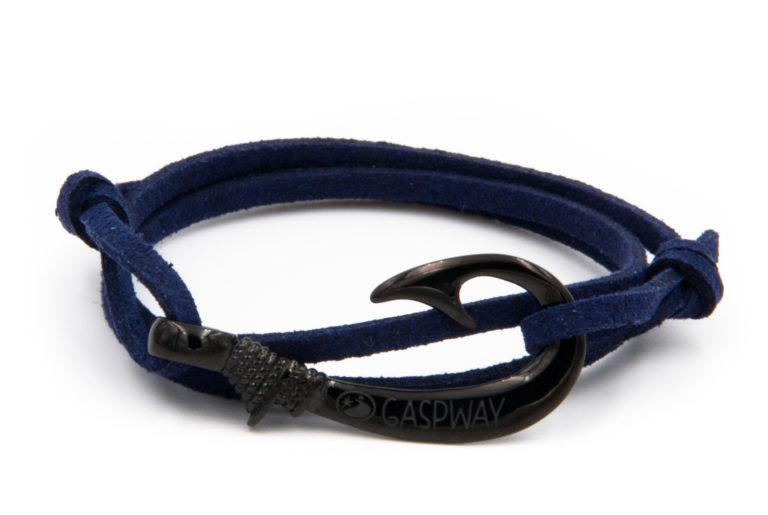 braccialetto gaspway amo da pesca alcantara blu amo nero
