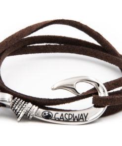 braccialetto gaspway amo da pesca alcantara marrone scuro amo acciaio