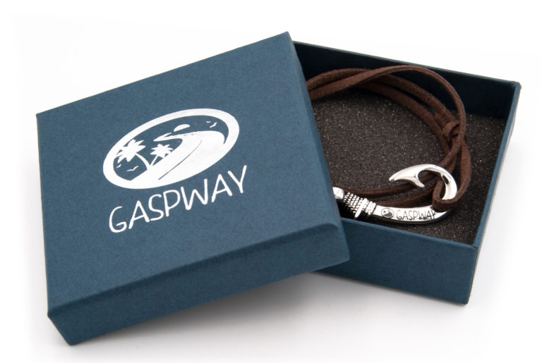 braccialetto gaspway amo da pesca alcantara marrone scuro amo acciaio con scatola