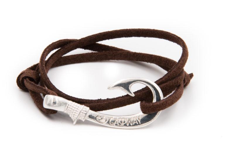 braccialetto gaspway amo da pesca alcantara marrone scuro amo argento