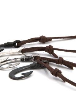 braccialetto gaspway amo da pesca alcantara marrone scuro