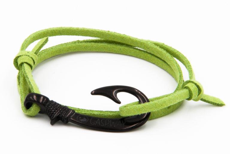 braccialetto gaspway amo da pesca alcantara verde amo nero