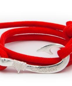 braccialetto amo da pesca gaspway rosso amo argento