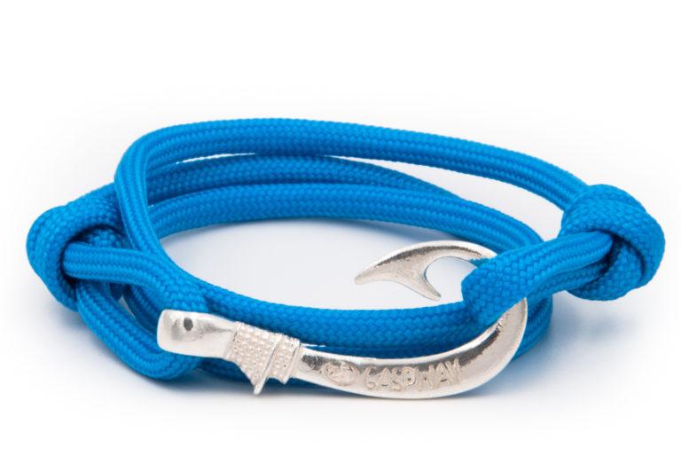 braccialetto amo da pesca gaspway sky blue amo argento