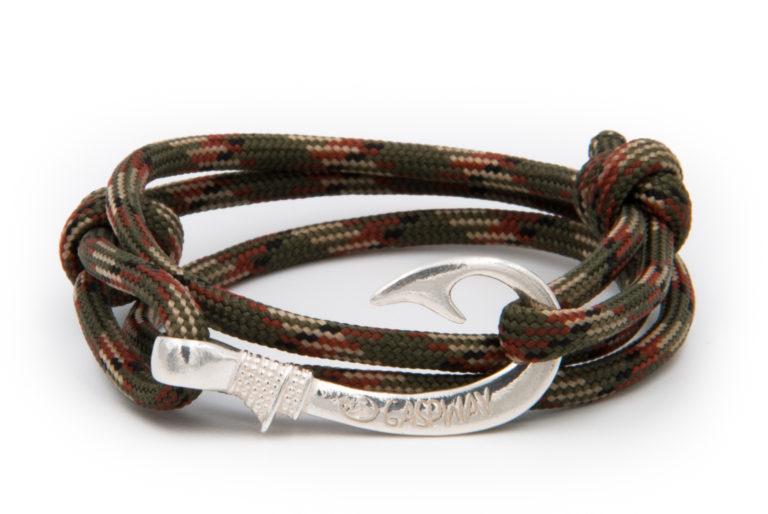 braccialetto amo da pesca gaspway verde camouflage amo argento